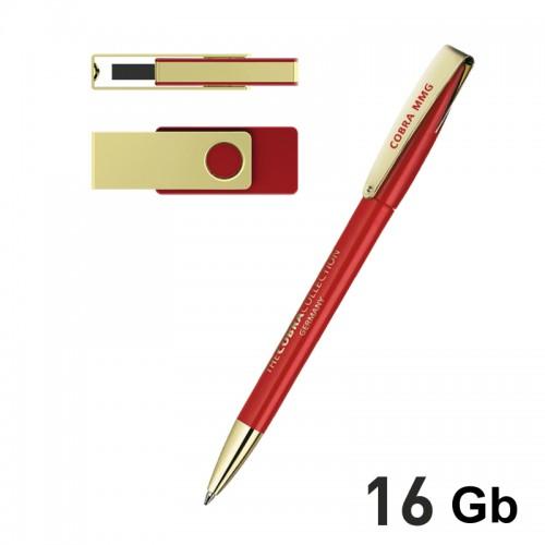 Набор ручка + флеш-карта 16Гб в футляре, красный с золотом