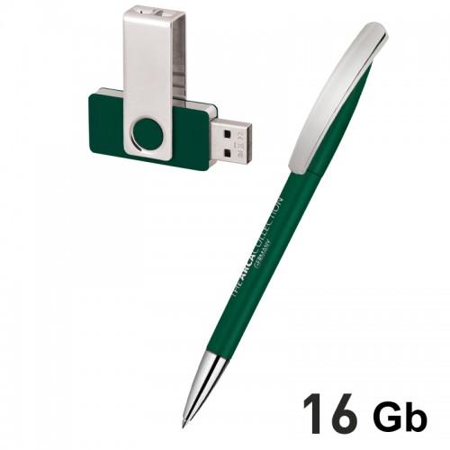 Набор ручка + флеш-карта 16Гб в футляре, темно-зеленый