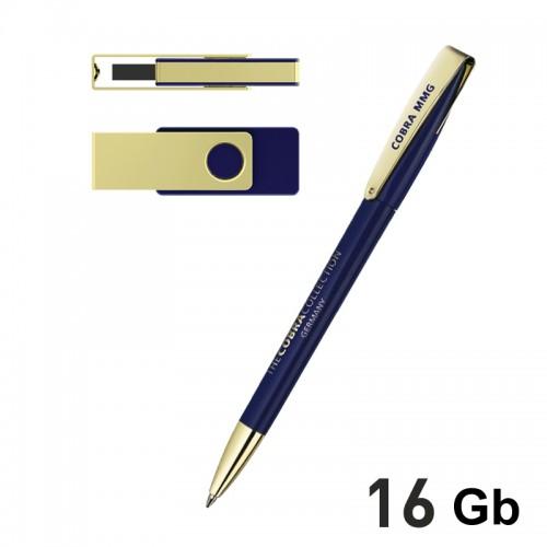 Набор ручка + флеш-карта 16Гб в футляре, синий с золотом