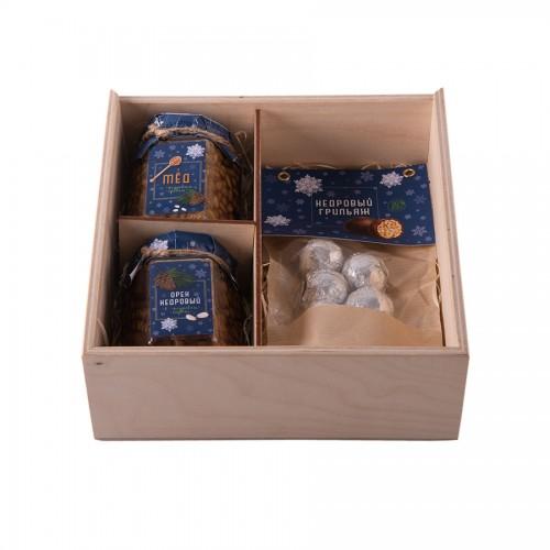 Набор 'Кедровый грильяж'; натуральный; 24,5х7х20см., бежевый, темно-синий
