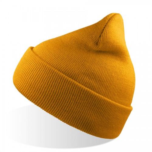 Шапка вязаная   двойная WIND с отворотом, желтый