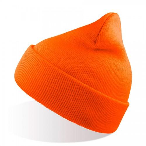 Шапка вязаная двойная WIND с отворотом, оранжевый